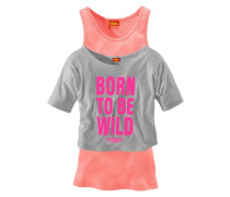 Shirt & Top (Set 2-tlg.) für Mädchen grau / orange / pink