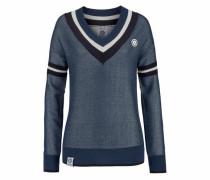 V-Ausschnitt-Pullover navy / blue denim / weiß