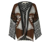 Poncho im Blanket-Stil 'Dodo' burgunder / schwarz / weiß