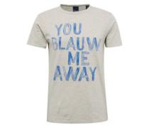 T-Shirt 'Ams Blauw tee with artwork' ecru / blau