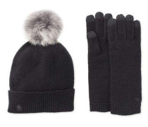Luxe Smart Glove And Pom Hat Set Damen Black