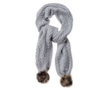 Textured Scarf With Fur Poms Damen Sterling Heather
