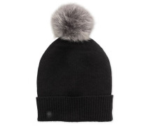 Luxe Cuff Hat With Toscana Pom Damen Black