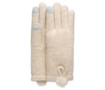Smart Glove With Fur Pom Damen Ivory Heather