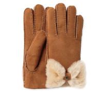 Sheepskin Bow Glove Damen Chestnut