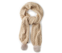 Textured Scarf With Fur Poms Damen Ivory Heather