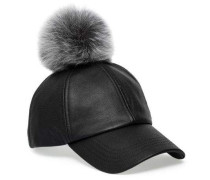 Leather Baseball Hat With Fur Pom Damen Black
