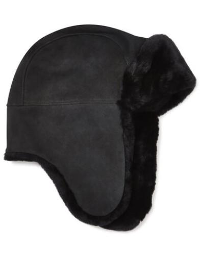Sheepskin Trapper Hat in Schwarz
