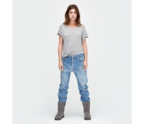 Jersey Knit Rolled Sleeve Tee Damen Grey Heather