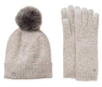 Luxe Smart Glove And Pom Hat Set Damen Light Grey Heather