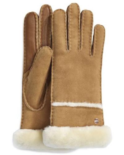 Seamed Tech Handschuhe Damen Chestnut