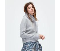 Wool Jersey Knit Funnel Neck Damen Grey Heather