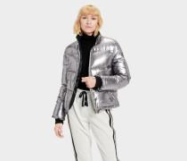 Izzie Puffer Nylon Jacke Pullover tiefel für Damen in ilver Metallic