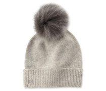 Luxe Cuff Hat With Toscana Pom Damen Light Grey Heather