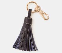 Schlüsselring aus Leder mit Quaste Navy Damen