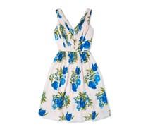 Schwingendes Kleid Blau Damen Boden