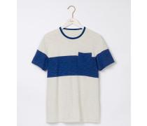 Genopptes T-Shirt mit breiten Streifen und Rundhalsausschnitt NEU Herren