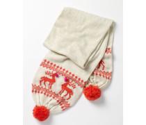 Weihnachtlicher Schal Elfenbeinfarben Mädchen Boden
