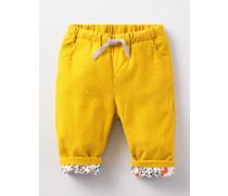 Hübsche Cordhose zum Hineinschlüpfen Gelb Baby Boden