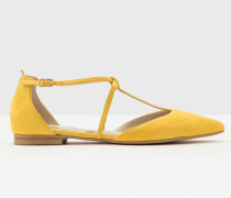 Flache Jennifer Schuhe mit T-Steg Yellow Damen