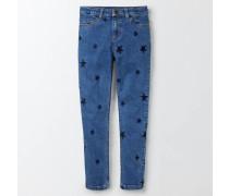 Jeans mit Stickereien Mittelblaues Denim Mädchen