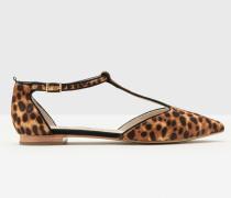 Flache Angelica Schuhe mit T-Steg Brown Damen