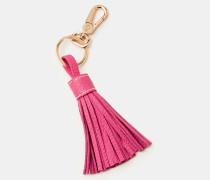 Schlüsselring aus Leder mit Quaste Pink Damen