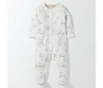 Superweicher Schlafanzug mit Lämmchen Elfenbeinfarben Baby Boden