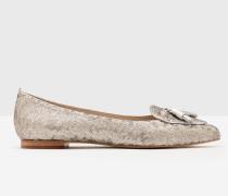 Flache Albertina Schuhe Silver Damen
