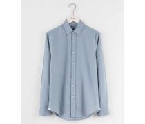 Aufgerautes Oxfordhemd Blau Herren