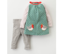 Hübsches Set aus Kleid mit Taschen und Leggings Gr�n