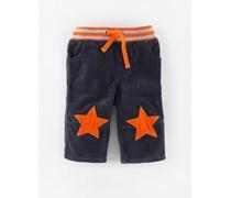 Dunkelgrau/Orange Sterne Cordhose mit Sternflicken