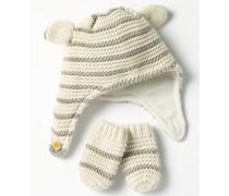 Gemütliches Mütze- und Fäustlinge-Set Elfenbeinfarben Baby