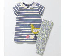 Set aus Kleid mit Applikation und Leggings Blau