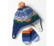 Mütze- & Fäustlinge-Set aus Schurwolle Blau Baby