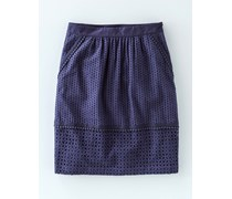Pocket Broderie Skirt Navy Damen