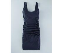 Kleid mit Rundhalsausschnitt und Raffung Navy Damen Boden