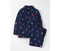 Gewebtes Pyjamaset Dunkelblau Jungen