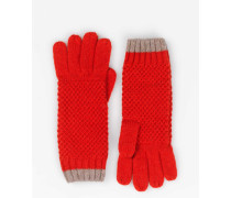 Handschuhe in Blockfarben Rot Damen Boden