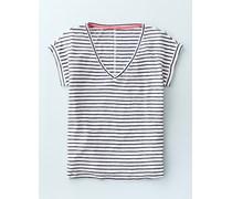 Leinen-T-Shirt mit V-Ausschnitt Gestreift Damen Boden