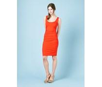 Kleid mit Rundhalsausschnitt und Raffung Rot Damen Boden