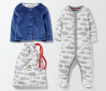 Schlafanzug & Jäckchen mit Walmotiv Grau
