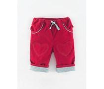 Himbeer/Blassblau Tupfen Hose mit Herzflicken