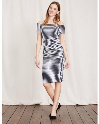 Schulterfreies Kleid mit Raffung Navy Damen