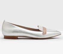 Flache Schuhe in Blockfarben Silber Damen