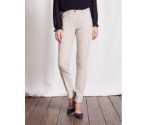 Schmale Jeans mit mittelhoher Taille Beige Damen