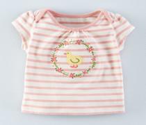 T-Shirt mit süßer Streifenapplikation Pink Baby Boden