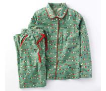 Gemütlicher gewebter Schlafanzug Dunkelgrün Damen