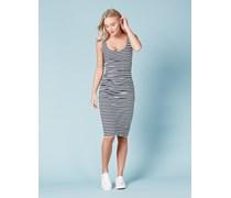 Kleid mit Rundhalsausschnitt und Raffung Gestreift Damen Boden
