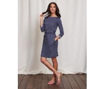 Kleid mit Tupfen und Streifen Blau Damen